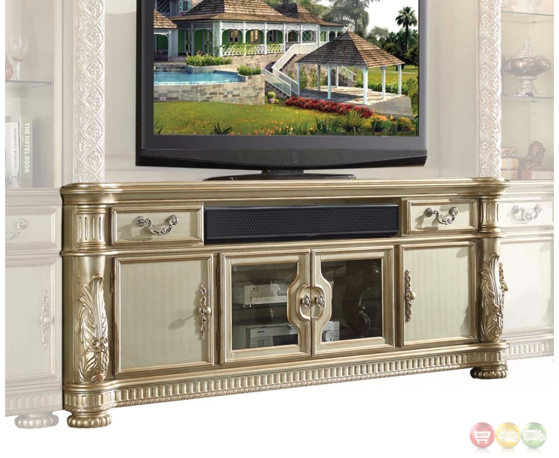 Vendome Ii Ornate 80 Quot Grand Tv Stand In Traditional Gold