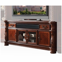 "Vendome II Ornate 80"" Grand TV Stand In Traditional Rich Cherry"