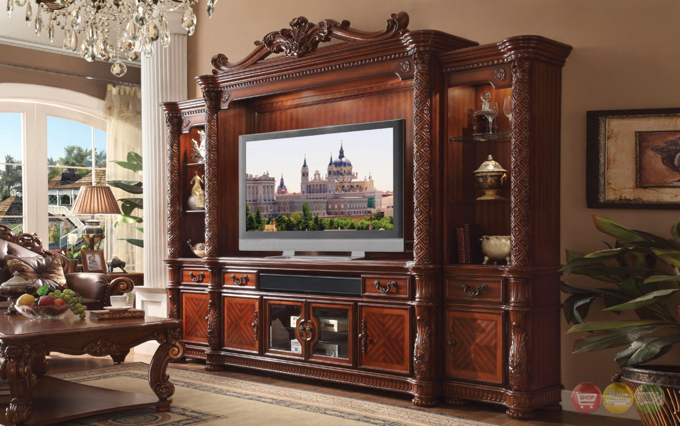 Vendome ii ornate 80quot entertainment wall unit in for Traditional wall units
