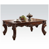Vendome II Traditional Formal Scrolled Coffee Table In Brown Cherry