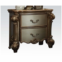 Vendome Traditional 2-Drawer Nightstand With Gold Patina Carved Accents