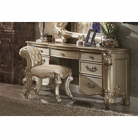 Vendome Traditional 7-Drawer Vanity Desk In Gold Patina And Carved Details