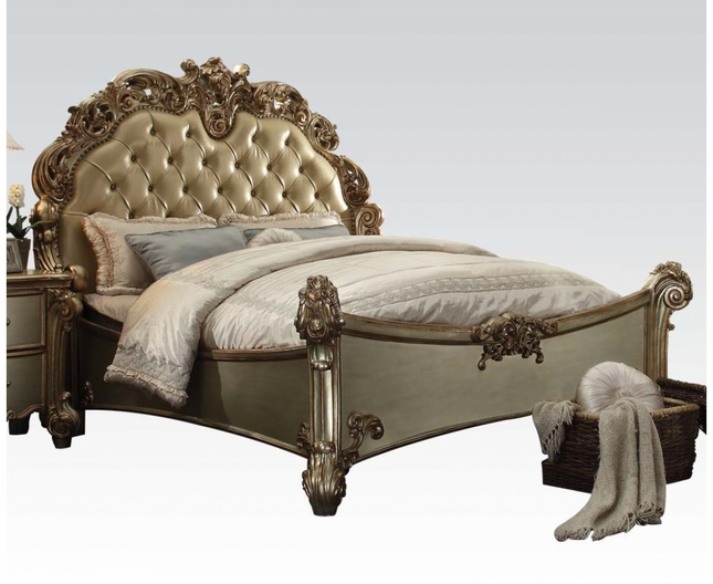 Vendome Traditional Baroque Upholstered King Bed In Gold Patina