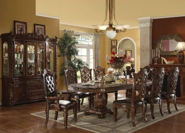 """Vendome 5pc Formal Double Pedestal 85""""-121"""" Dining Table Set In Cherry"""