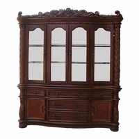 Vendome Traditional Carved Floral China Cabinet In Deep Cherry Finish