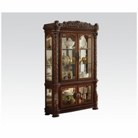 Vendome Traditional Carved Floral Curio Cabinet In Brown Cherry