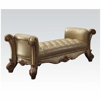 Vendome Traditional Faux Leather Bench In Button-Tufted Gold Patina