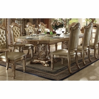 "Vendome Traditional Formal Double Pedestal 84""-120"" Dining Table In Gold Patina"