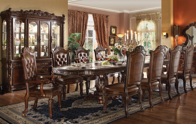 """Vendome 5pc Formal Double Pedestal 136"""" Dining Table Set In Cherry"""