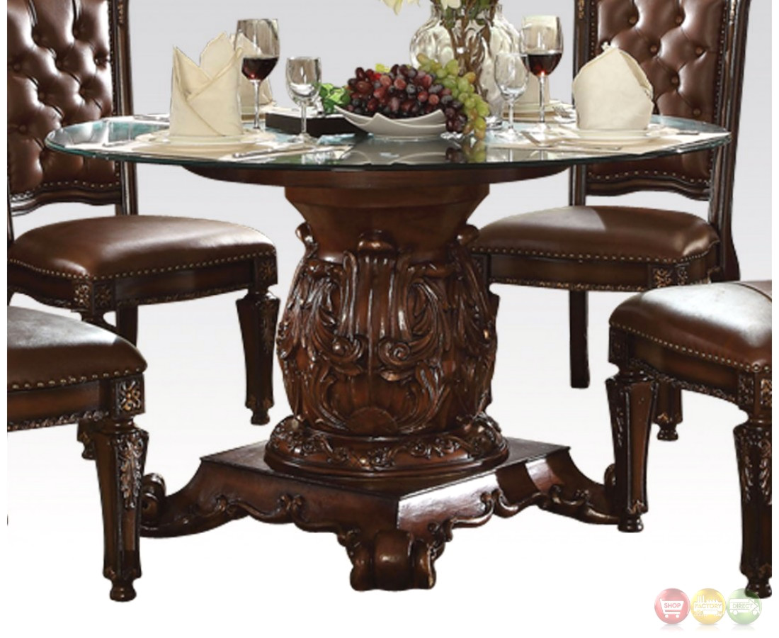 Vendome Traditional Glass Top 54 Round Dining Table In