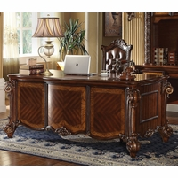Vendome Traditional Ornate 5-Drawer Executive Desk In Cherry Finish