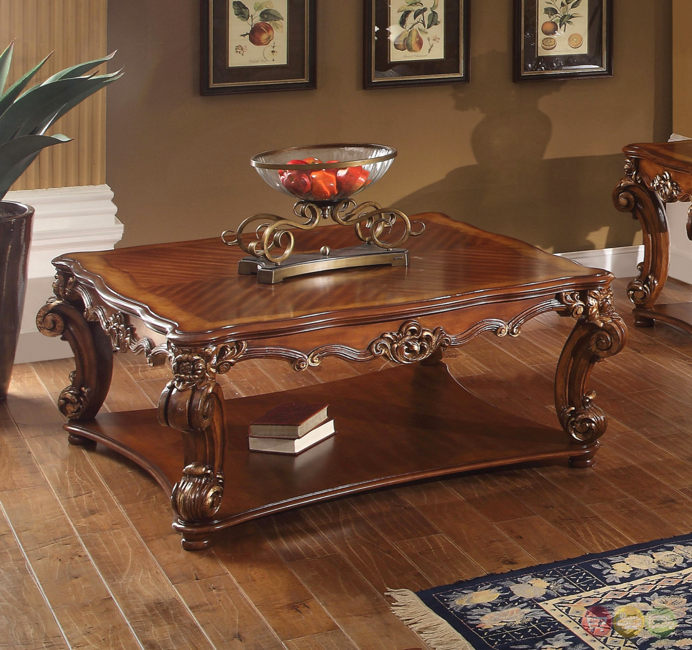 Vendome Traditional Ornate Coffee Table With Wood Top In Cherry Finish