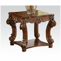 Vendome Traditional Ornate End Table With Wood Top In Cherry Finish