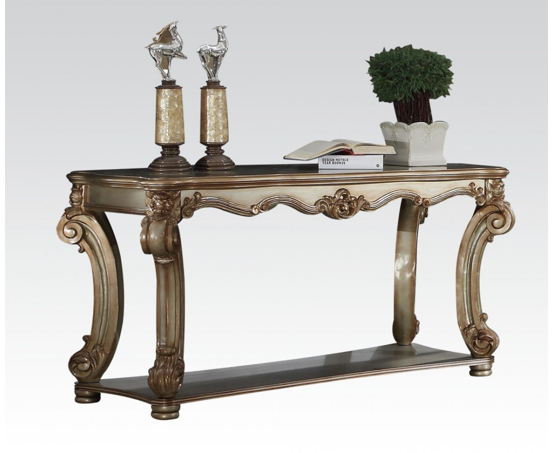 Vendome Traditional Ornate Sofa Table With Wood Top In Gold Patina