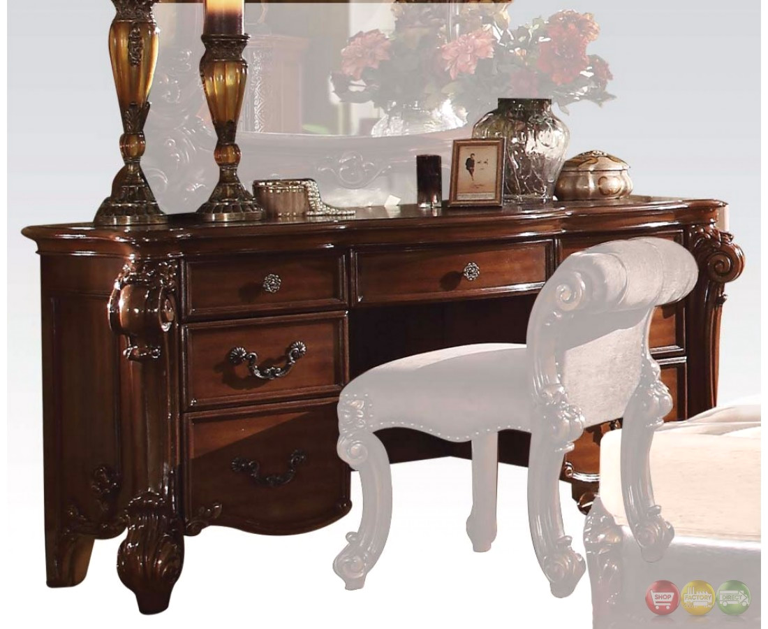 Vendome Victorian 7-Drawer Bedroom Vanity Desk In Cherry