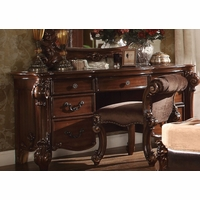 Vendome Victorian 7-Drawer Bedroom Vanity Desk In Cherry Finish