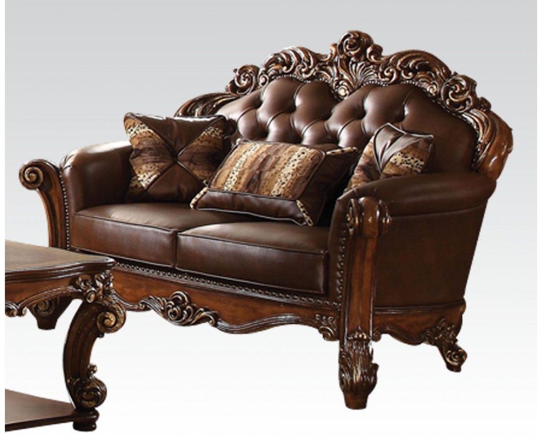 Vendome Formal Sofa & Loveseat Set In Ornate Dark Brown