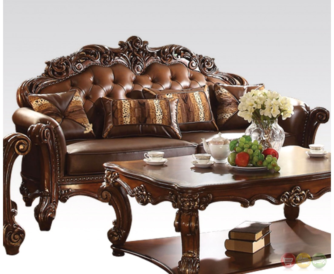 Vendome Formal Sofa Amp Loveseat Set In Ornate Dark Brown