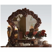 Vendome Victorian Cherry Beveled Mirror With Ornate Scrolled Details
