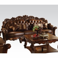Vendome Victorian Oversized Brown Faux Leather Sofa With Wood Accents