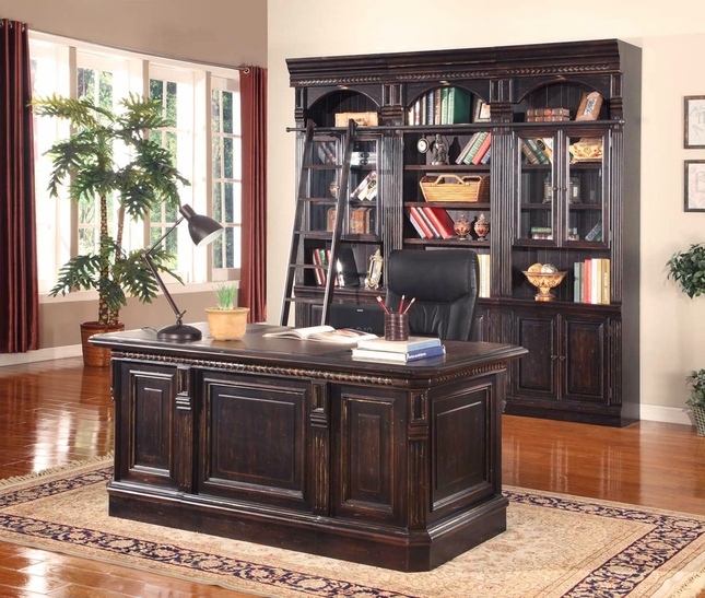 Venezia 3 Piece Library Bookcase Wall w/Optional Executive Desk in Burnished Black
