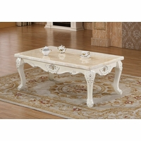 Venice Pearl Marble Coffee Table With Silver Accents