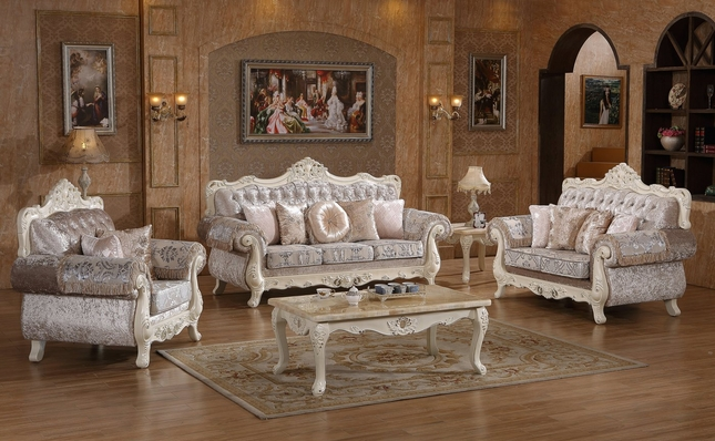 Venice Silver Crystal Tufted Sofa & Loveseat Set With Pearl White Frame