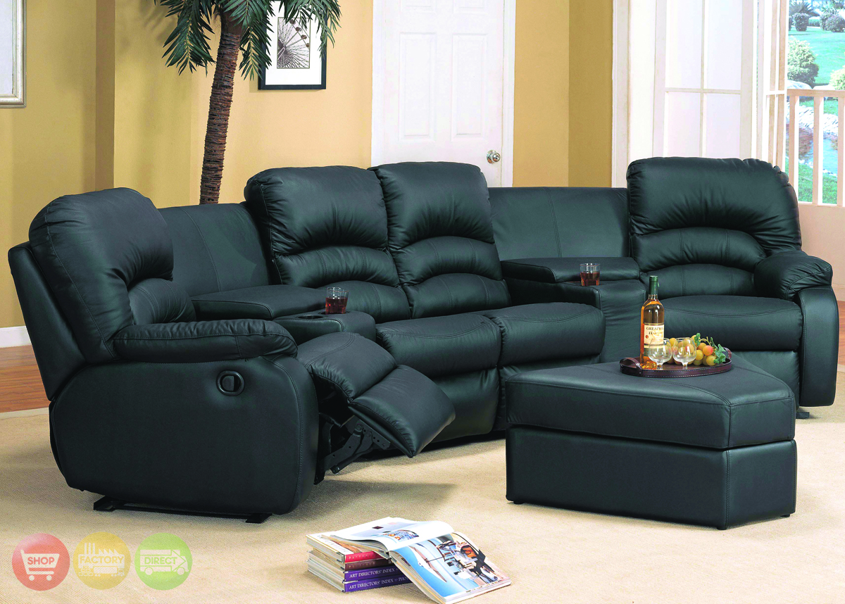 ventura black leather sectional sofa reclining theater seating
