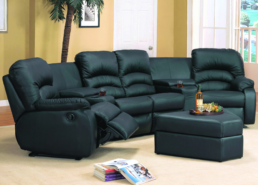 ventura contemporary reclining black leather sectional sofa ottoman