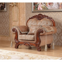 Verona Beige Floral Chair With Ornate Cherry Frame