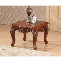 Verona Floral End Table With Ornate Cherry Frame