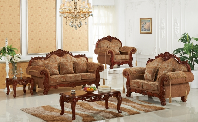 Verona Traditional Beige Floral Sofa & Loveseat With Ornate Cherry Frame Finish