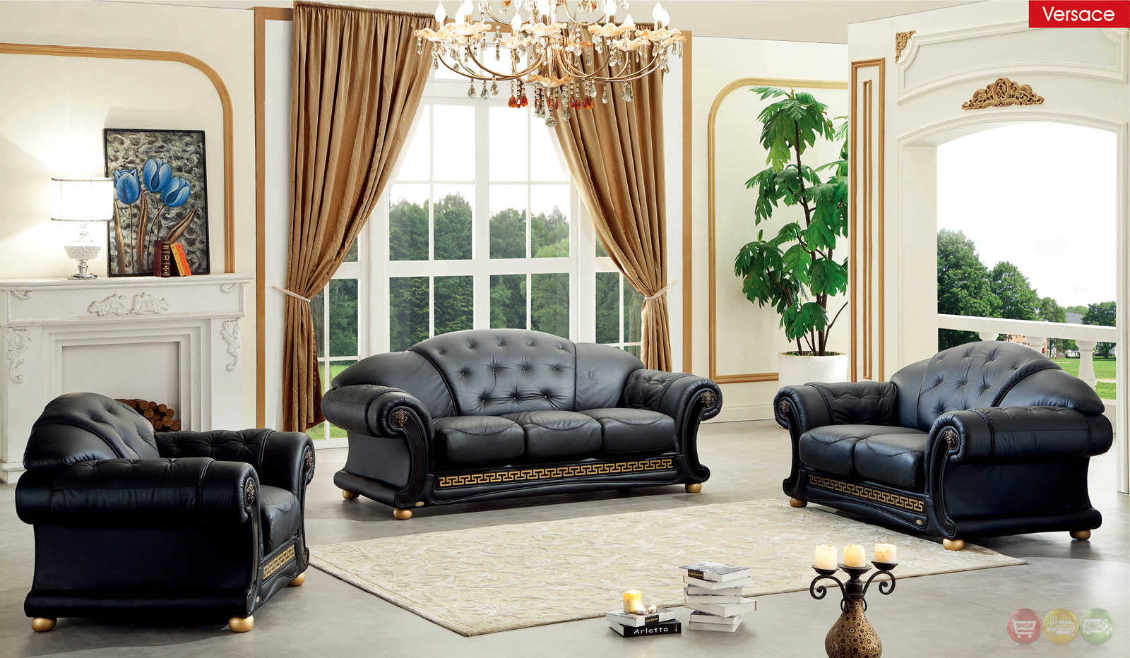 Versace Black Italian Top Grain Leather Luxurious Living Room Sofa Set