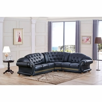 Versace Cleopatra Black Italian Top Grain Leather Right Chaise Sectional Sofa