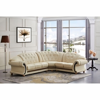 Versace Cleopatra Cream Italian Top Grain Leather Beige Right Chaise Sectional Sofa