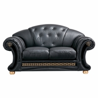 Versace Genuine Black Button Tufted Leather Loveseat Luxury Seating