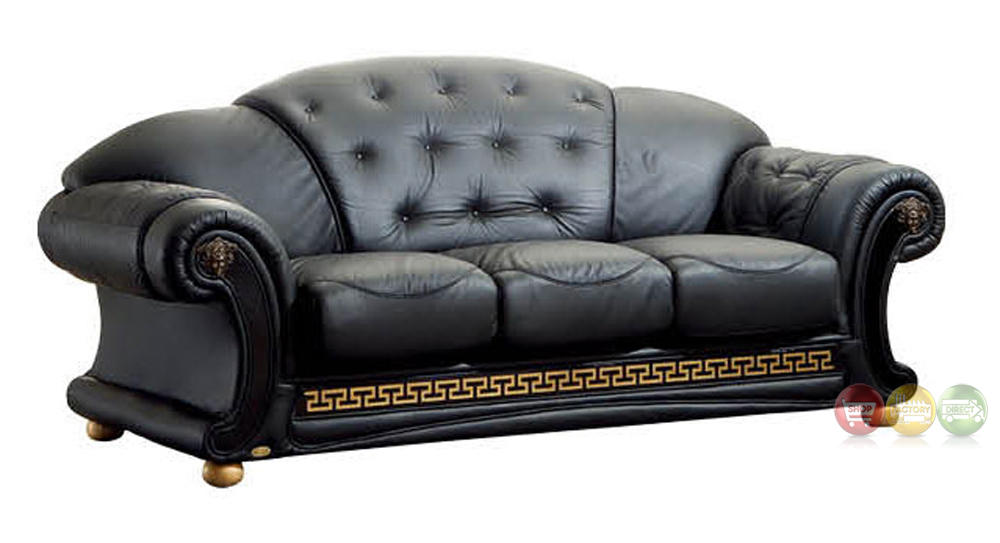 Versace Luxury Button Tufted Black Italian Leather Pull