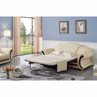 Versace Luxury Button Tufted Ivory Italian Leather Pull Out Sleeper Sofa