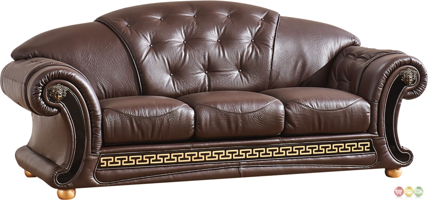 Versace Sofa In Dark Brown Croc Skin Embossed Top Grain