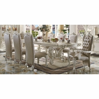 "Versailles 120"" Traditional Bone White Parquet Pattern Dining Table"