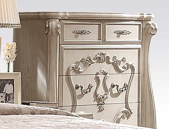Versailles Bone White 5-drawer Chest With Silver Accents