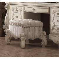 Versailles Bone White Upholstered Vanity Stool With Nail head Trim