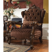 Versailles Button Tufted Brown Velvet Upholstered Chair In Cherry Oak