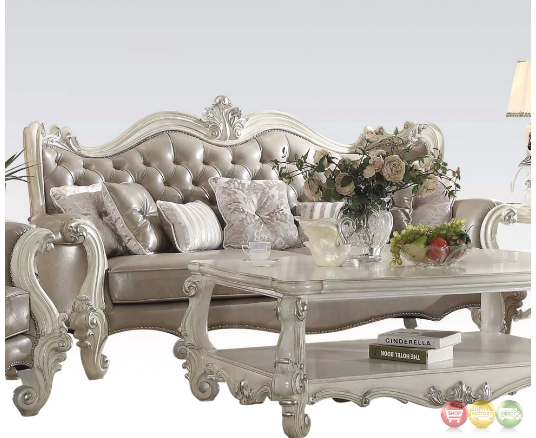 Versailles Button Tufted Vintage Grey Sofa And Loveseat In