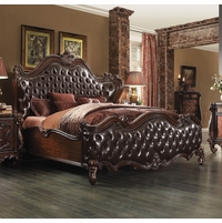 Versailles Classic Wingback King Bed In Dark Brown Tufted Faux Leather