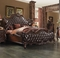 Versailles Classic Wingback Queen Bed In Dark Brown Tufted Faux Leather