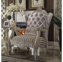 Versailles Formal Arm Chair In Bone White Button Tufted Velvet
