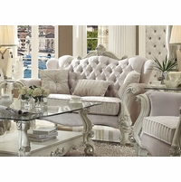Versailles Formal Bone White Velvet Loveseat With Ornate Carved Accents