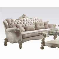 Versailles Formal Bone White Velvet Sofa With Ornate Carved Accents