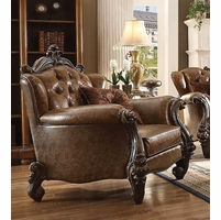Versailles Formal Button Tufted Chair In Light Brown Faux Leather